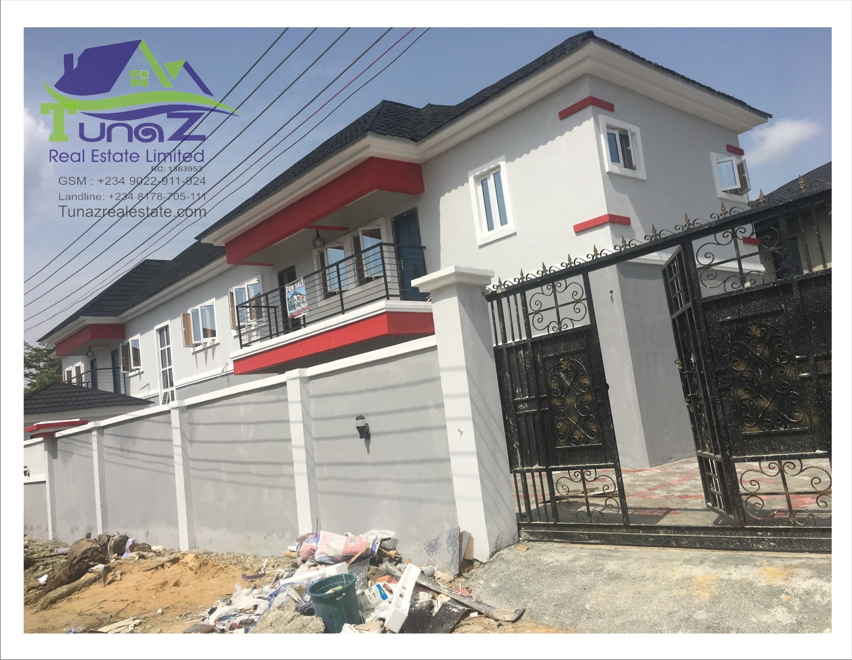 2 Units of Massive 5 bedroom duplexes with a BQ for SALE within an estate in Olokonla area of Ajah